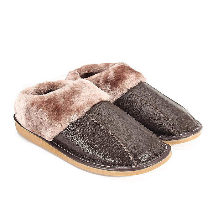 a1a0b52a566 Winter Warm Fuzzy Cow Leather House Slippers for Men Fleece Lined Home  Shoes-EU