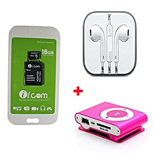16gb Memory card with Free earphoes and MP3 Player - Black