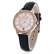 Women Quartz Watch Slender Leather Strap Rhinestone Dial Wristwatch-BLACK