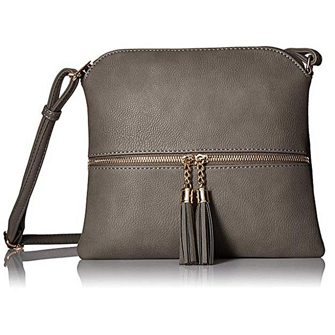 c81138118f02 huskspo Women Leather Tassel Crossbody Bag Pure Color Shoulder Bags  Messenger Bag