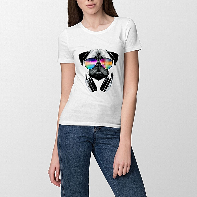 Women Casual T-Shirt Short Sleeves Shirt Streetwear animal dog cat lion  tiger sun glasses fetees