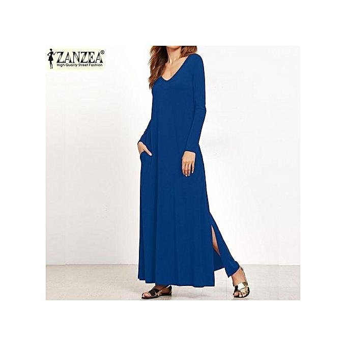 e5136e7894 ZANZEA Women Long Sleeve Low Cut Evening Party Long Maxi Dress Split Shirt  Dress (Blue