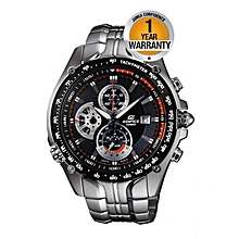 Black Dial Tachymeter Watch With Silver Stainless Steel Straps