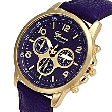 Olivaren Unisex Casual Geneva Faux Leather Quartz Analog Wrist Watch Watches PPPurple
