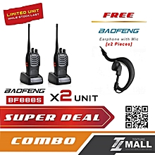 BAOFENG BF-888S Walkie Talkie Two-way Portable CB Radio [2 UNIT] + FREE Earphone [2 UNIT]