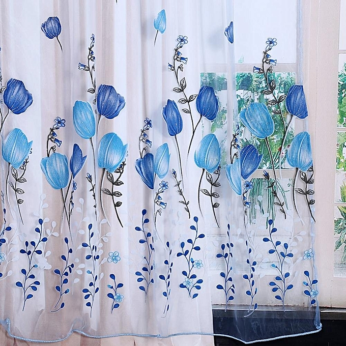 ... 100*200cm Tulips Printing Tulle Curtains Sheer Floral Balcony Drape Window Decoration- Blue ...