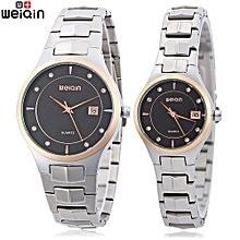 Couple Artificial Diamond Date Display Quartz Watch  Bracelet Wristwatch-BLACK