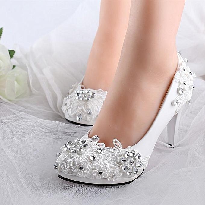 e18b693fa NEW Women White Floral Stilettos Rhinestone Wedding Shoes Bridal High Heels  Gift white-EU