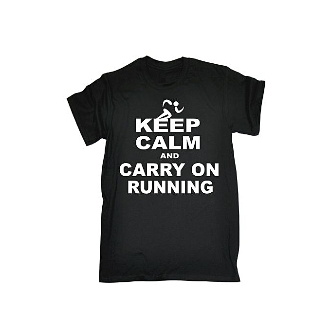 Fashion Sixianghonggen Mens Keep Calm And Carry On Running T Shirt Funny Clothing Birthday