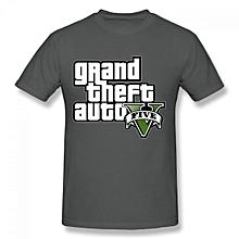 Grand Theft Auto V Logo Men's Cotton Short Sleeve Print T-shirt Grey