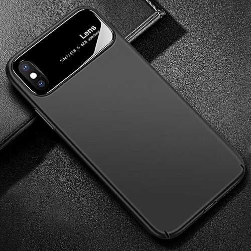reputable site 4a2ef 47946 folk-custom Phone Case For iPhone X Hard PC Matte Back Cover Lens Full  Protect Tempered Glass Case For iPhone X - BLACK