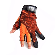 Camouflage/Orange 3Cut-Finger/Fingerless Anti-slip Elastic Fishing Biking Gloves