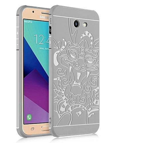 wholesale dealer 8a725 eaaac Samsung Galaxy J7 Max 2017 Silicon Case 3d Carved Matte TPU Anti-knock  Phone Back Cover - Gray