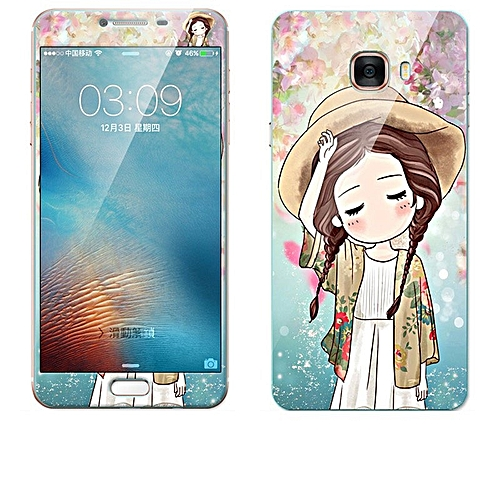Luxury 3D Painting Front+Back Full Case Cover Color Tempered Glass Case For Samsung Galaxy