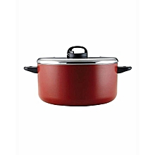 20816-T - Classique Covered Stockpot with 2 Handles and Aluminium Lid - 24cm - Red