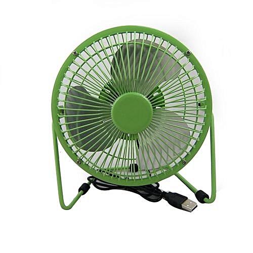 819 USB Power Supply 360 Degree Rotating Mini Portable Desktop Fan  (Color:Green)