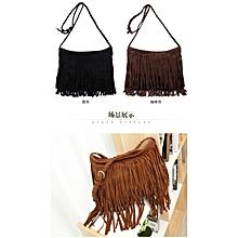 BS Shoulder Cross Bag Retro Vintage Tassel Pu Leather Fringe Crossbody Sling Bag