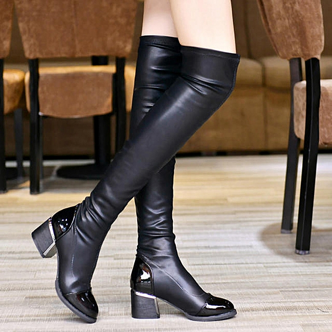 c151451ca81 Fashion Leather Over Knee Boots Women Toe Elastic Stretch Thick Heel Boots  BK 35-