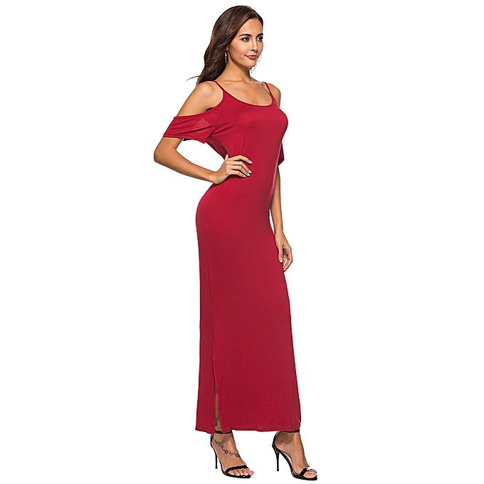 4845f3e767 ... Women Cold Shoulder Long Dress Spaghetti Straps Slit Sides Boho Solid  Loose Maxi Dress ...