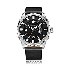 Men Quartz Leather Military Wrist Watch