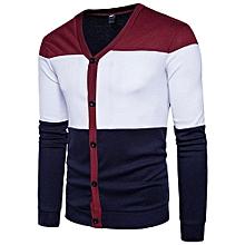 bluerdream-Men's Autumn Winter Long Sleeve Patchwork Pocket Blouse Tops Coat Outwear WEL- Wine Red