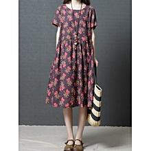 Vintage Women Floral Printed Short Sleeve Loose O-Neck Dress