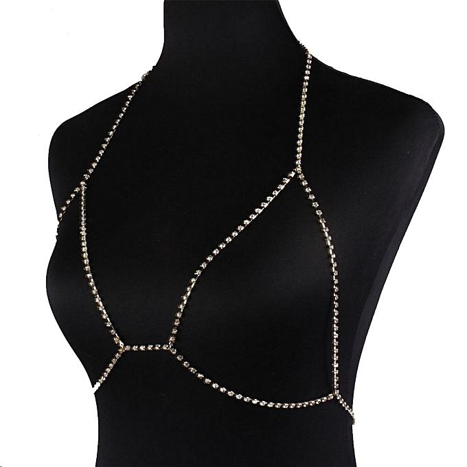 a9cf104712155 Fashion Rhinestone Bra Chain Sexy Harness Bikini Body Chain Women Jewelry GD