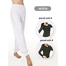 Women Professional Fitness Dancing Yoga Pants Jogging Running Sport Long Trousers Loose Modal Cotton Sport Trousers Plus Size M-3XL White