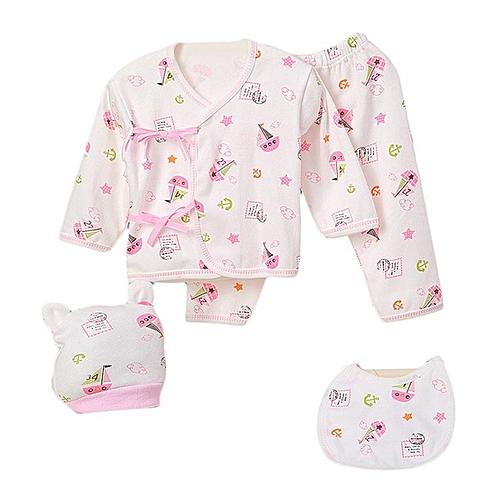 efcc23e020140 Allwin 5PCS 0-3 Months Pure Cotton Infant Suit Tops+Bottoms+Cap+Bib Boys  Girls Set pink 1168 @ Best Price Online   Jumia Kenya