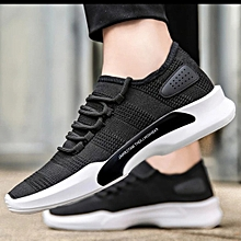 Men breathable sneakers shoes black