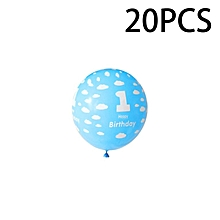 Home-20Pcs 1 Year Old Baby Number Printing Birthday Balloons for Party Decoration Blue