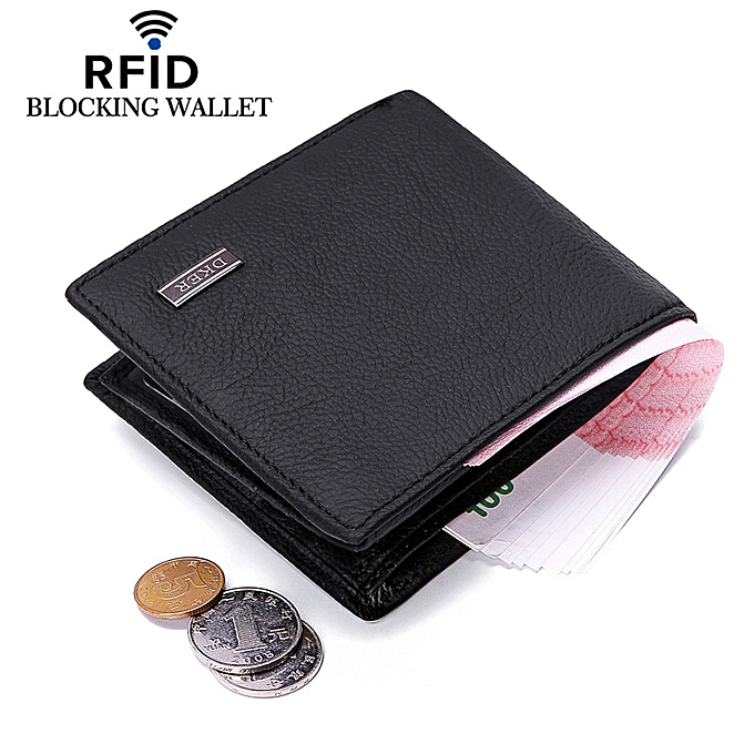 Short Wallet Purse For Men Cow Leather Anti Theft Rfid Wallet - Black