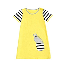 Toddler Baby Girl Cartoon Bird Print Embroidery Dress Stripe Dress Clothes