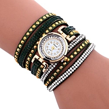 Lady  Leather Wrist Watch Fulaida Fashion Chimes Diamond Leather Bracelet Lady Womans Wrist Watch- Green
