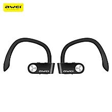 Awei T2 Sweat-proof TWS True Wireless Earbuds Bluetooth 4.2 Sports Headphones On-ear Control-BLACK
