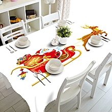 Merry Christmas Rectangular Printed Fabric Party Picnic Tablecloth 90*150cm C-As shown