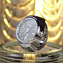 Dial Quartz Analog Watch Creative Steel Cool Elastic Quartz Finger Ring Watch BK