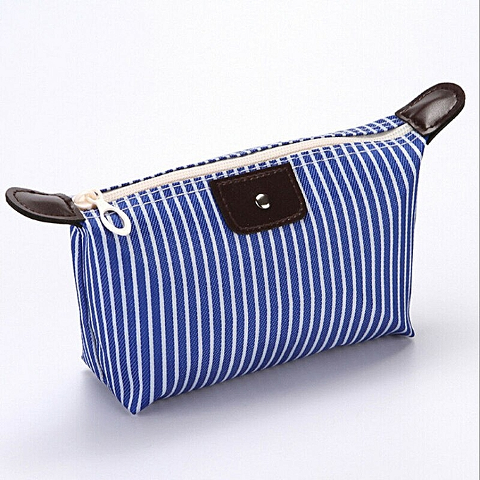 7d50cbe73077 Women Korean Striped Cosmetic Bags Multifunction Purse Box Travel Makeup  Bag Toiletry Case Pouch Ladies Packs Fashion New(Blue)