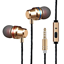Metal Earphone Heavy Bass Input Earphone Headphone Wire-controlled Earplug Single-sided