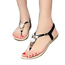Women Rhinestone Owl Sweet Sandals Clip Toe Sandals Beach Shoes BK 36
