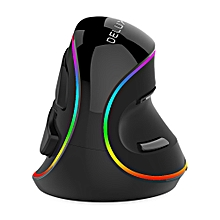 Delux M618 Plus Wired Vertical Mouse with Colorful RGB Light 4000DPI - BLACK
