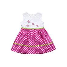 ToddlerᅠKids Baby Girls Sleeveless Embroidery Flower Dress Spot Dress Clothes