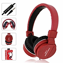 Headsets Music Earphones Gaming Headphones 3.5mm Foldable Portable For Phone MP3 MP4 Computer - Red