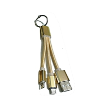 2 in 1 USB Keychain Charger Compatible with both Apple and Android Devices