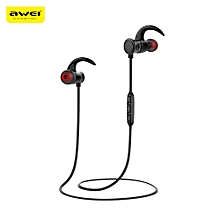 Awei AK5 Waterproof Magic Magnet Attraction Bluetooth 4.1 Sports Headphones with Microphone On-ear Control - BLACK