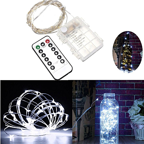10M 100 LED Silver Wire String Fairy Light Battery Chirstmas + Remote  Controller