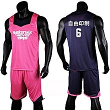 Double Side Customized Youth Men's Basketball Team Sports Set-Pink Blue(3028)