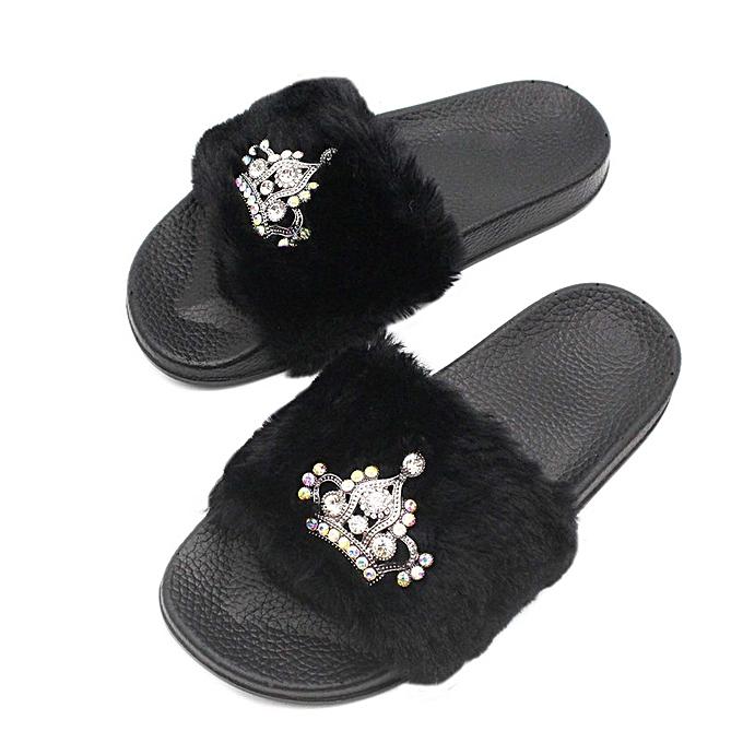 a4f206adafa Fashion Women Crown Warm Flat Platform Anti Slip Fur Slippers Woman Flip  Plus Size 36-40 Fashion Women Beach Ladies Shoes- Black