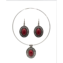 Red Stainless Steel Choker & Earrings Set