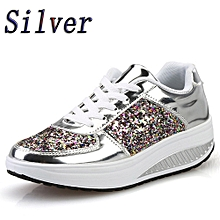 Blicool Shoes Women's Ladies Wedges Sneakers Sequins Shake Shoes Fashion Girls Sport Shoes#Silver
